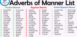 adverbs of manner -ly